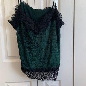 Velvet Green and Black Dressy Tank Top